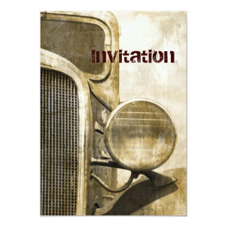 abstract grunge retro vintage rustic old truck personalized announcement