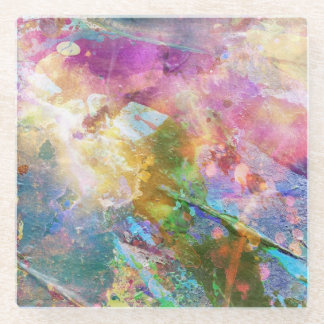 Abstract grunge texture with watercolor paint 3 glass coaster
