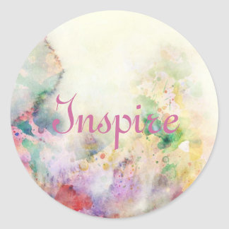 Abstract grunge texture with watercolor paint classic round sticker