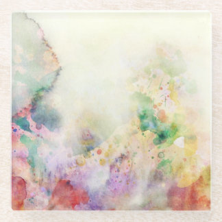 Abstract grunge texture with watercolor paint glass coaster