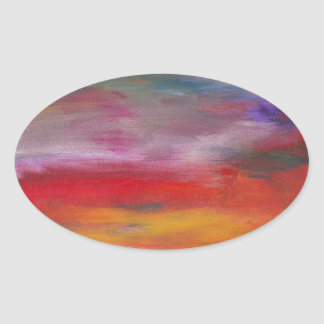 Abstract - Guash & Acrylic - Pleasant Dreams Oval Sticker