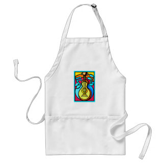 Abstract Guitar and Music Notes Graphic Design Adult Apron