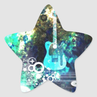 Abstract Guitar Art Star Sticker