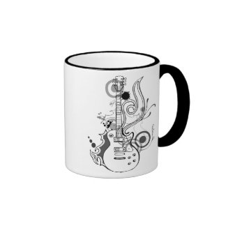abstract guitar design ringer coffee mug