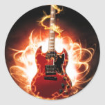 Abstract Guitar Design Round Stickers