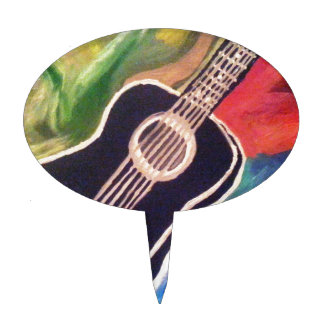 ABSTRACT GUITAR.jpg Cake Toppers