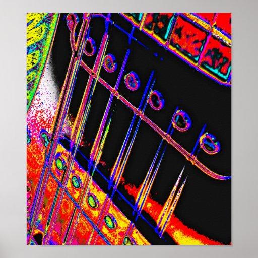 Abstract Guitar Modern Pop Art Poster Rock N Roll   Zazzle