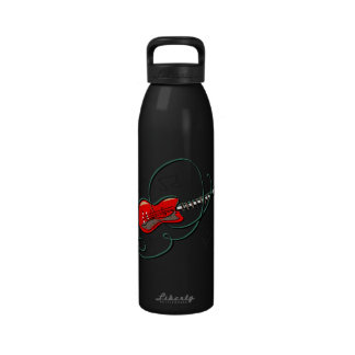 abstract guitar notes music red png drinking bottles
