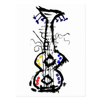 abstract guitar postcard