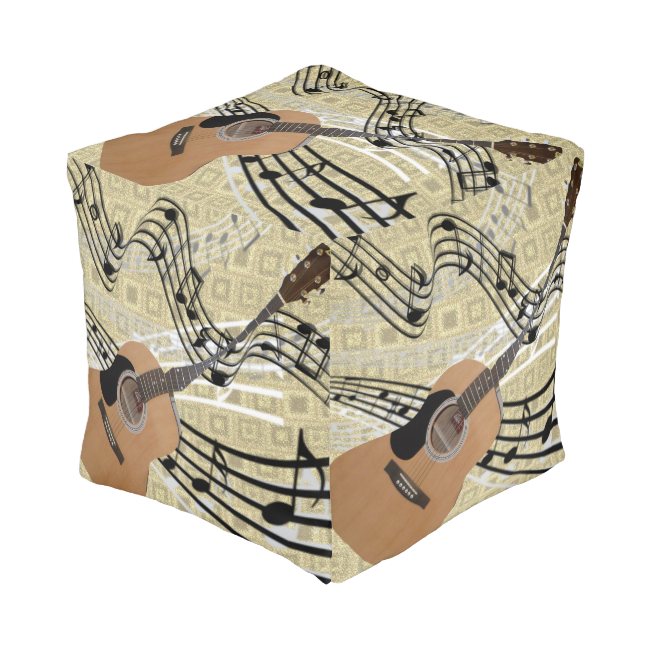 Abstract Guitar Pouf Cube Pouf