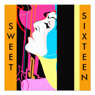 ABSTRACT GUITAR SWEET SIXTEEN PARTY INVITATION