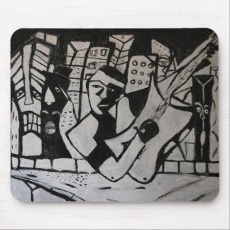 ABSTRACT GUITARIST BLACK WHITE MOUSE PAD