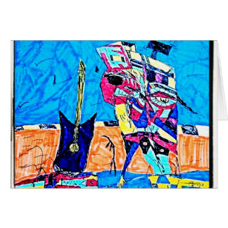 ABSTRACT GUITARIST DRAWING CARD