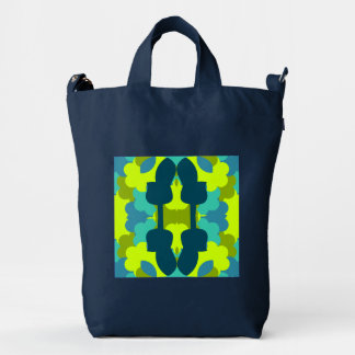 Abstract guitars in green duck bag