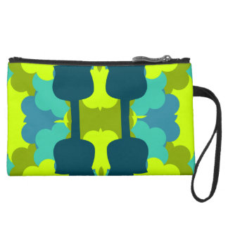 Abstract guitars in green suede wristlet wallet