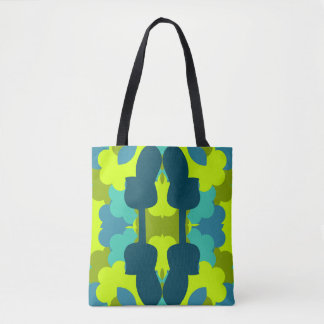 Abstract guitars in green tote bag