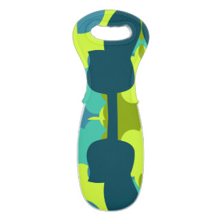 Abstract guitars in green wine bag