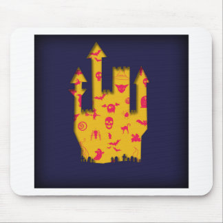 Abstract Halloween image with a castle cut out. Mouse Pad