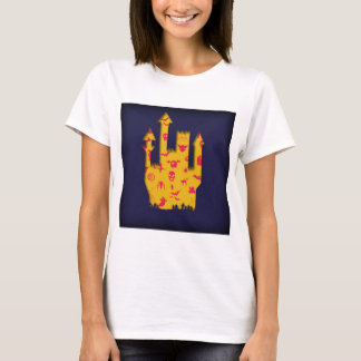 Abstract Halloween image with a castle cut out. T-Shirt