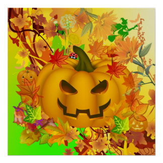 Abstract Halloween Pumpkin Poster