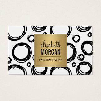 Abstract Hand Drawn Circles and Gold Name Logo Business Card