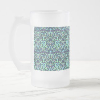 Abstract hand drawn pattern. Green cyan colors. Frosted Glass Beer Mug