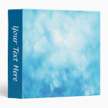 Abstract Hand Drawn Watercolor Background: Blue 3 Ring Binder
