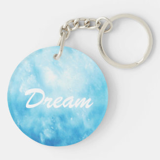 Abstract Hand Drawn Watercolor Background: Blue Double-Sided Round Acrylic Keychain
