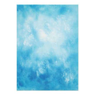 Abstract Hand Drawn Watercolor Background: Blue Poster