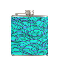 Abstract hand-drawn waves texture. Sea background. Hip Flask