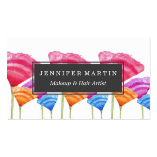 Abstract Hand Painted Colorful Long Stem Flowers Business Card