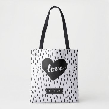 UrHomeNeeds Abstract Handdrawn Love Heart Black White Dots Tote Bag