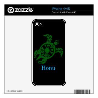 Abstract Hawaiian Green Sea Turtle on Black iPhone 4S Decal
