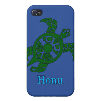 Abstract Hawaiian Green Sea Turtle on Ocean Blue iPhone 4 Cases