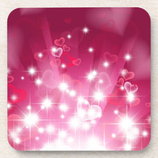 Abstract Heart Background in Pink Coasters