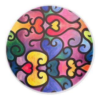 Abstract Heart Design Ceramic Knob