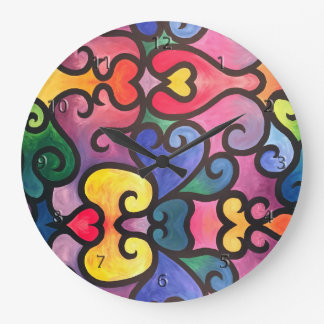 Abstract Heart Design Large Clock