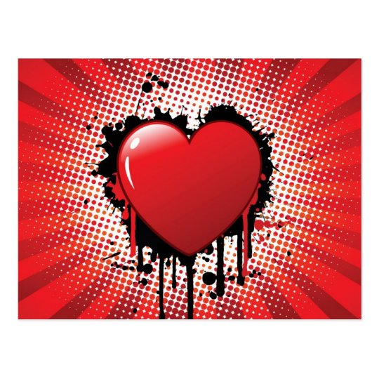 Abstract Heart Design Postcard