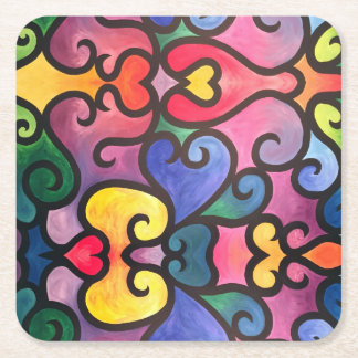 Abstract Heart Design Square Paper Coaster