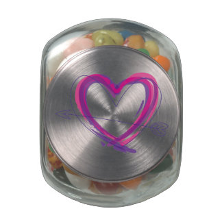 Abstract heart in purple and pink glass jars