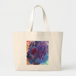 Abstract Heart Mixed Media Collage Canvas Bag