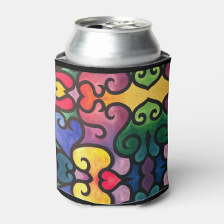 Abstract Heart Painting Can Cooler