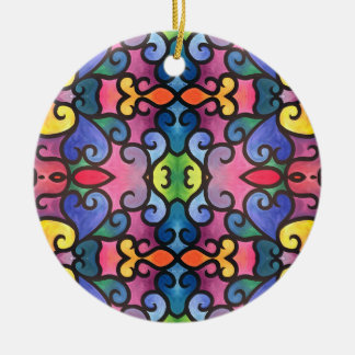Abstract Heart Painting Ceramic Ornament