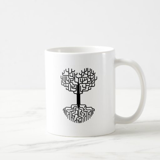 Abstract heart tree silhouette classic white coffee mug