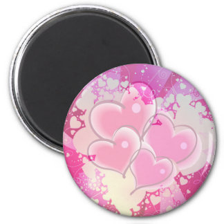 ABSTRACT HEARTS by SHARON SHARPE 2 Inch Round Magnet