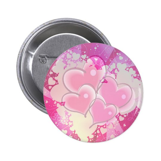 ABSTRACT HEARTS by SHARON SHARPE Pinback Button