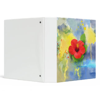 Abstract Hibiscus Flower 3 Ring Binder