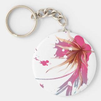 Abstract Hibiscus Flower Basic Round Button Keychain