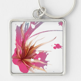 Abstract Hibiscus Flower Silver-Colored Square Keychain