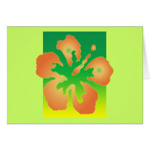 Abstract Hibiscus on Green and Yellow Greeting Card